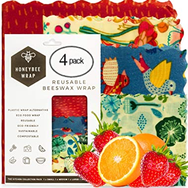 Honeybee - Zero Waste Beeswax Wraps   Reusable Food Wraps   Wax Paper For Zero Waste Home   Available in Pack of 4 with Different Sizes   Bees Wrap Lasts for 1   100% Biodegradable Beeswax Food Wraps