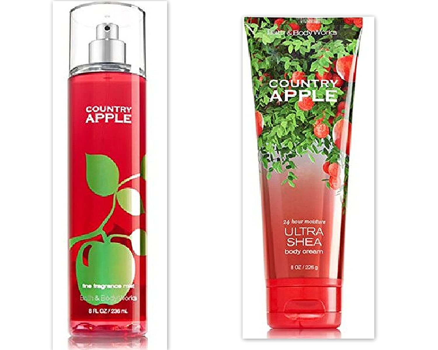 Bath Body Works Country Apple Bundle includes 1-Tube Country Apple Ultra Shea Body Cream, 8 oz + 1-Bottle Country Apple Fine Fragrance Mist, 8 oz