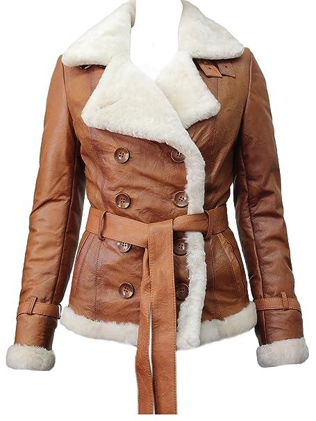 Amazon.com: ABSY - Chaqueta de piel de oveja para mujer ...