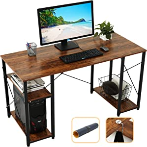 """Gome Computer Desk with Shelves Storage, 55"""" Modern Home Office Desk for Small Spaces, Student Writing PC Desk for Teens Bedroom, Industrial Work Study Desk Wood Desk with Mouse Pad & Hanging Hook"""