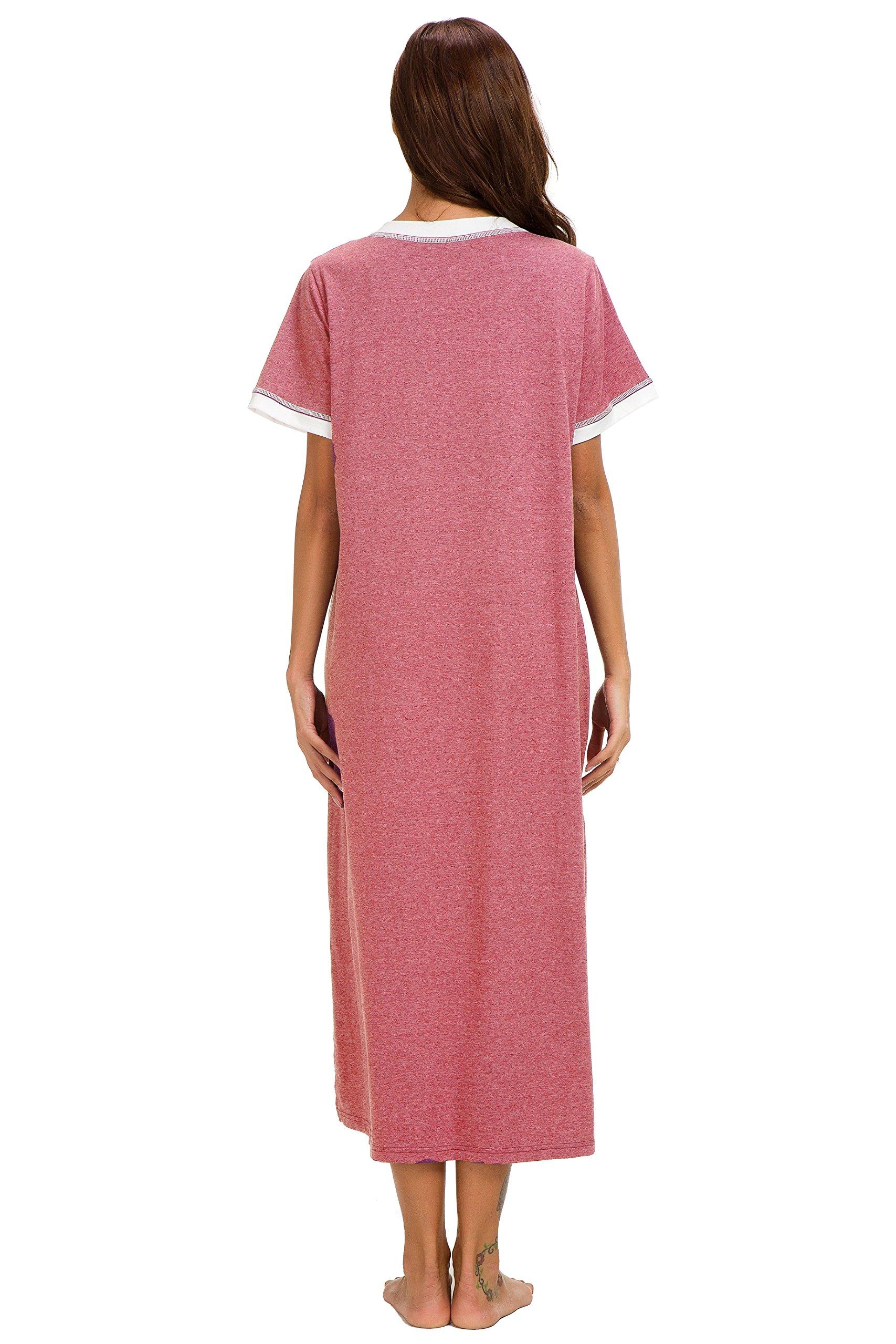 Aviier Supersoft Maxi Sleepshirt with Pockets, Nightgowns for Women Short Sleeve Cotton Nightshirts Sleepwear (XXL, Red) by Aviier (Image #6)