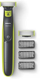 Philips One Blade Rechargeable Wet and Dry Electric Shaver for Trim, Edge and Shave with 3x Click-on Stubble Combs, Black/Lime, QP2520/30
