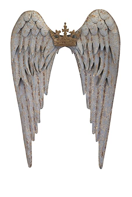 Imax 88704 Ella Wing Wall Decor   Gold Tipped Angel Wings With Crown    Metal Wall