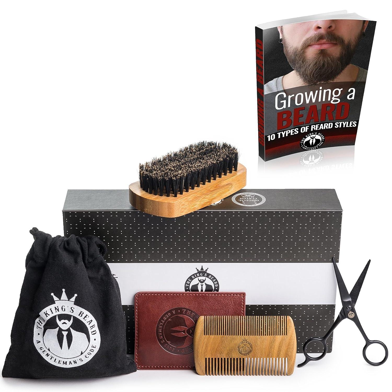 Beard Grooming Kit by The King's Beard - Natural Bamboo Beard Brush with Boar Bristle & Sandalwood Beard Comb with PU Leather Case & Stainless Steel Scissors - Travel Bag & Premium Quality Gift Box Beard Set The King's Beard