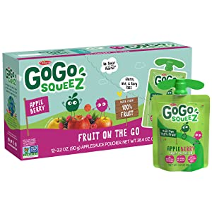 GoGo squeeZ Applesauce, Apple Berry, 3.2 Ounce (12 Pouches), Gluten Free, Vegan Friendly, Unsweetened Applesauce, Recloseable, BPA Free Pouches