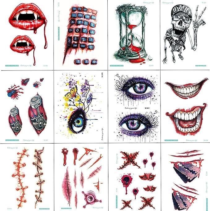 SZSMART 12 Hojas Tatuajes Temporales, Halloween Horror Zombie ...