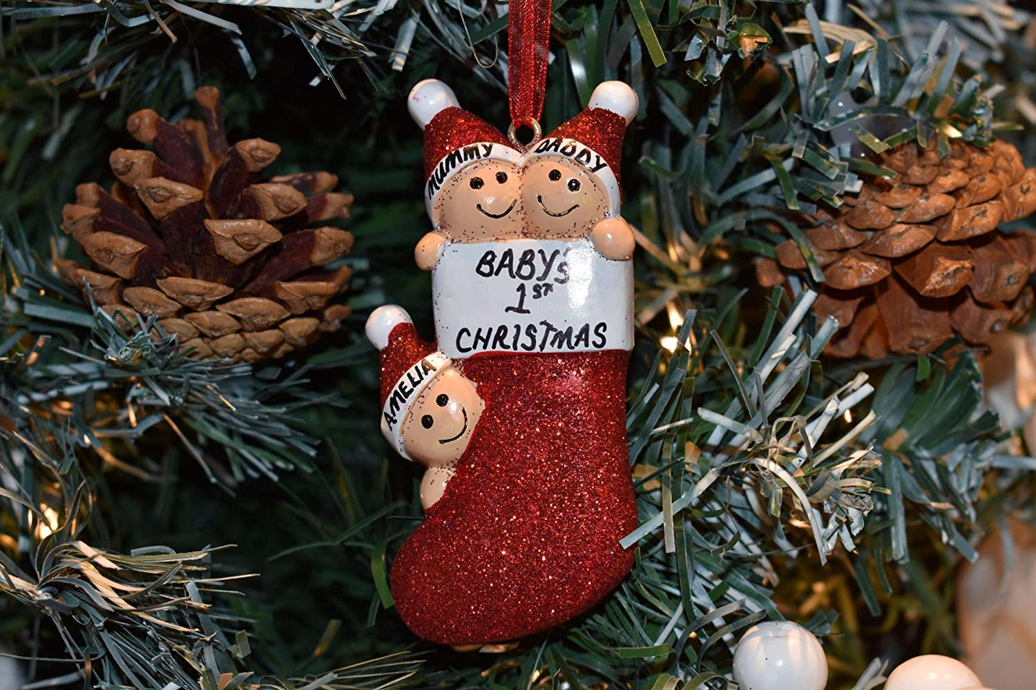 PERSONALISED Christmas Tree Decorations Girl Boy Kids ANY NAME Baubles Xmas Gift