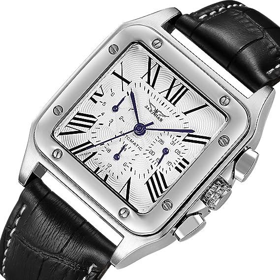Reloj pulsera automático GuTe para hombre, estilo vintage, con esfera en números romanos y manillas de color azul: Amazon.es: Relojes