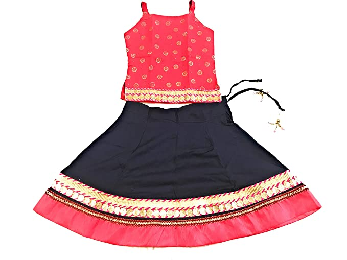 6258c4894 Anchal Collection Baby Girl's Cotton Heavy Border Skirt and Top Dress Combo  Set (Pink and