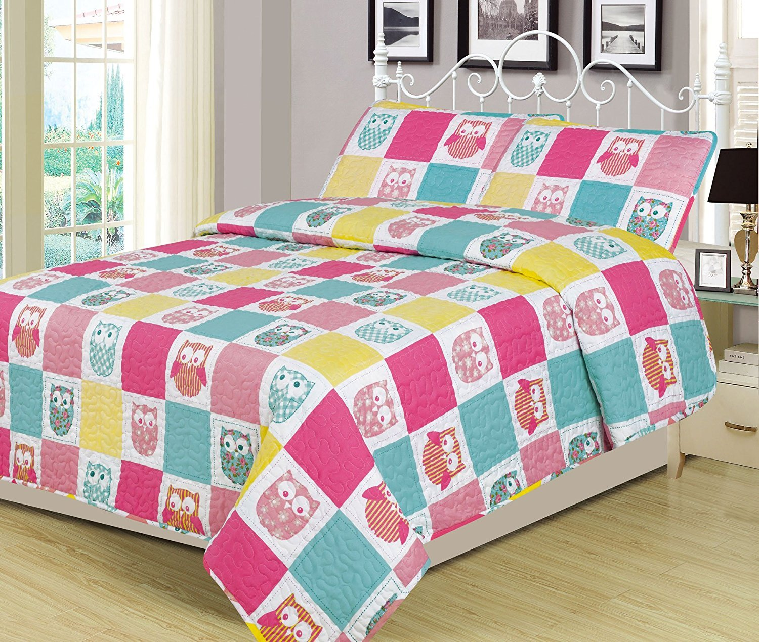 (Twin) Twin 2 Piece Owls Bed Set Bedding Quilt Bedspread, Girls Owl Patchwork Pink Blue Yellow B073WGFCCNツイン