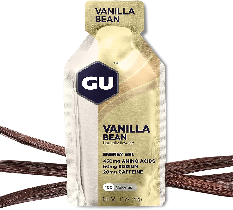 GU Energy Original Sports Nutrition Energy Gel, Vanilla Bean, 24 Count Box