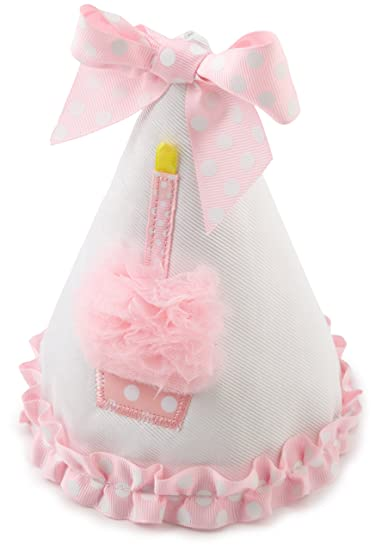 Amazon.com  Mud Pie Baby Birthday Pink and White Hat 1818dfb9a10