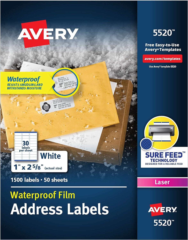 "B00006IBUV Avery Waterproof Address Labels with Sure Feed & TrueBlock 1"" x 2-5/8"", 1,500 White Labels (5520) 81dqkykehdL"
