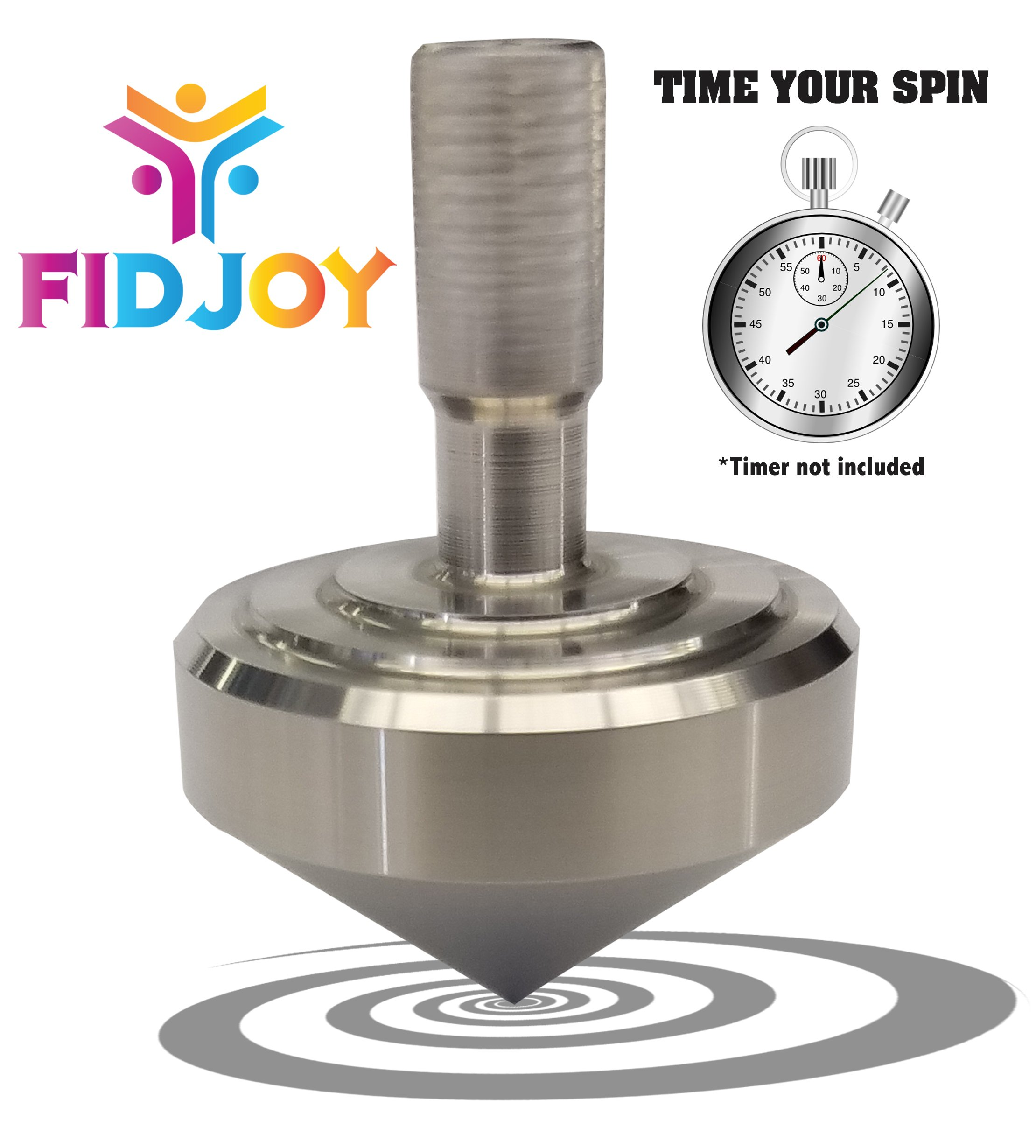 FidJoy Precision Stainless Steel Spinning Top , Get the Longest Spin with the Classic Fidget Spinner For the Desk, Pocket or Gift. 2.7 CM Height, 2 CM Width