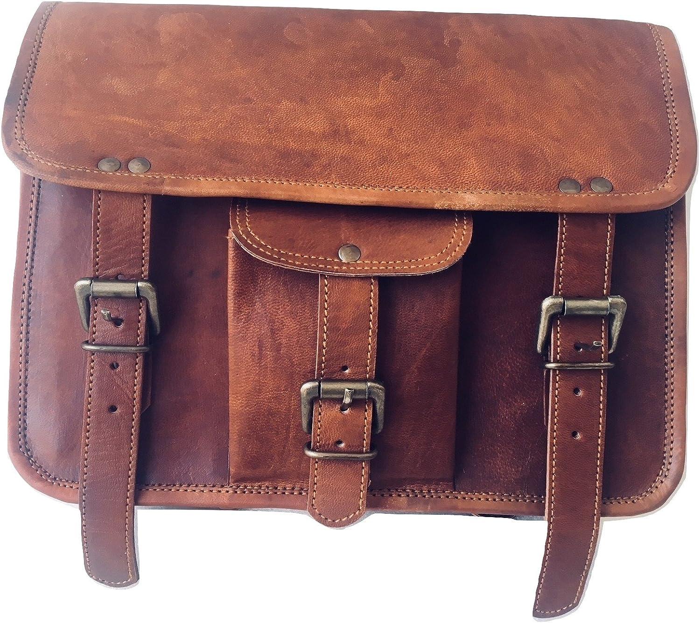 Vintage Crafts Messenger Tasche Aus Echtem Ziegenleder Motorrad Werkzeugtasche Braun Für Lenker Sissy Bar Reisetasche Sport Freizeit