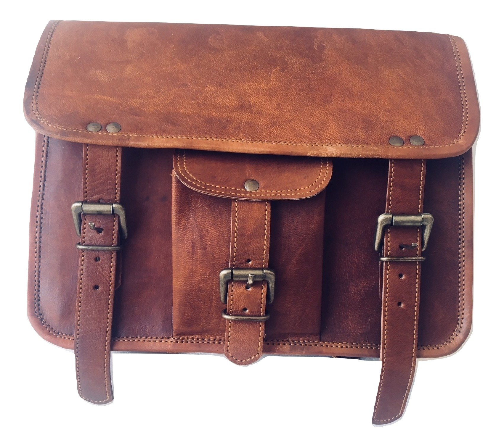 vintage crafts Genuine Goat Leather Messenger Satchel Motorcycle Tool Bag Brown Handlebar Sissy bar Travel Bag Saddlebags Panniers by vintage crafts