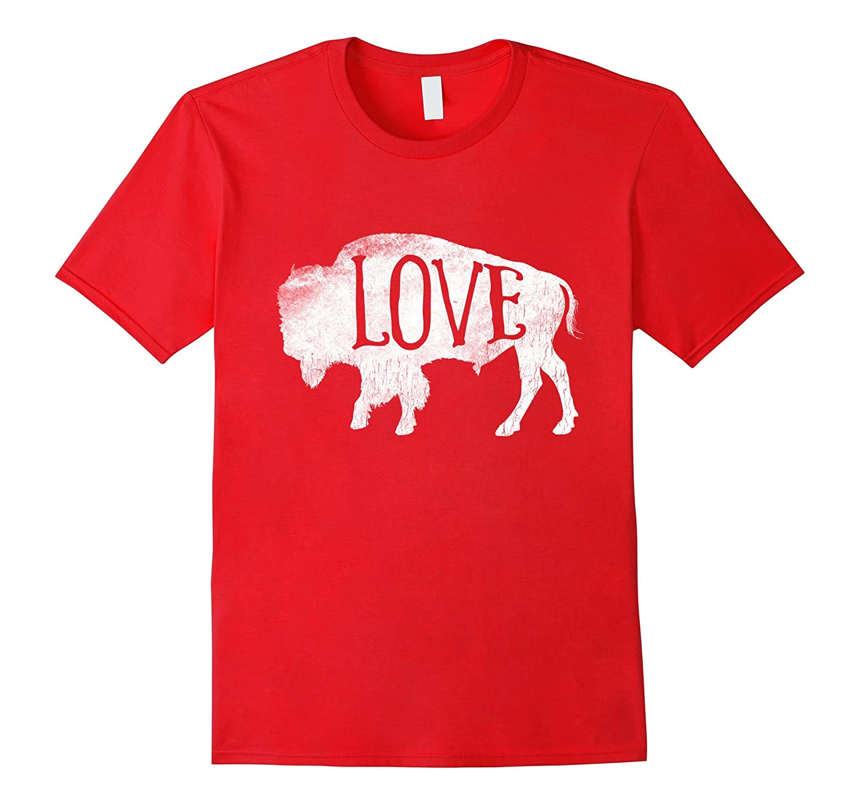 American Vintage Buffalo Silhouette Love Bison T Shirt Tee-FL