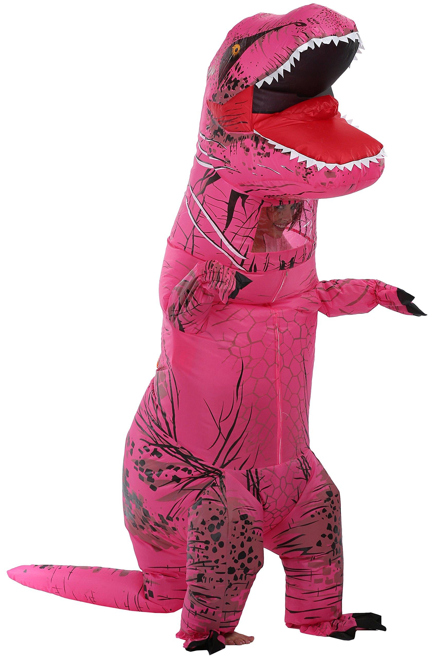 caringgarden Unisex Jurassic T-Rex Inflatable Costume Dinosaur Fancy Dress Hot Pink Adult Size