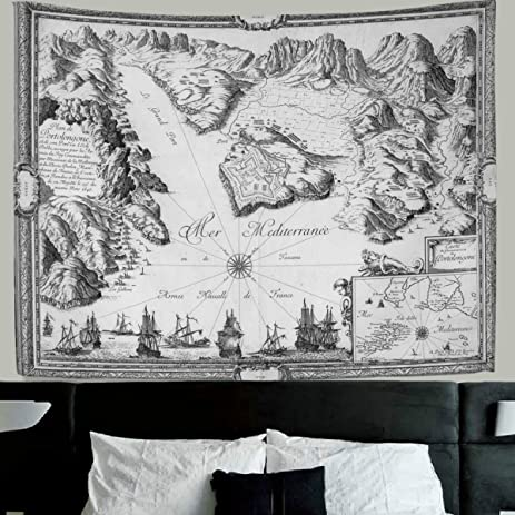 Amazon hmwr world map tapestry wall hanging ancient global hmwr world map tapestry wall hanging ancient global continents world map earth geography old vintage wall gumiabroncs Gallery