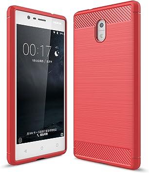 Nokia 3 Funda, KuGi Slim TPU Suave Silicon Shockproof Caso de lujo con cubierta de textura