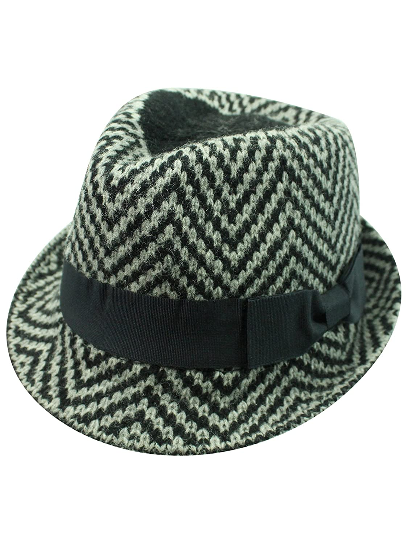 Luxury Divas Black   Grey Zigzag Angora Wool Fedora Hat at Amazon Women s  Clothing store  fb1a0352c37