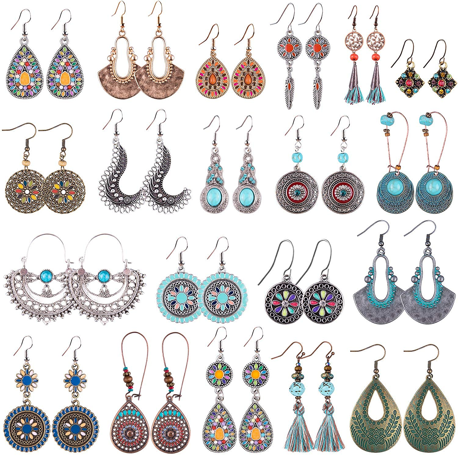 4Pairs//Set Vintage Bohemia Earrings for Women Jewelry Boho Long Crystal Stud Earing Set