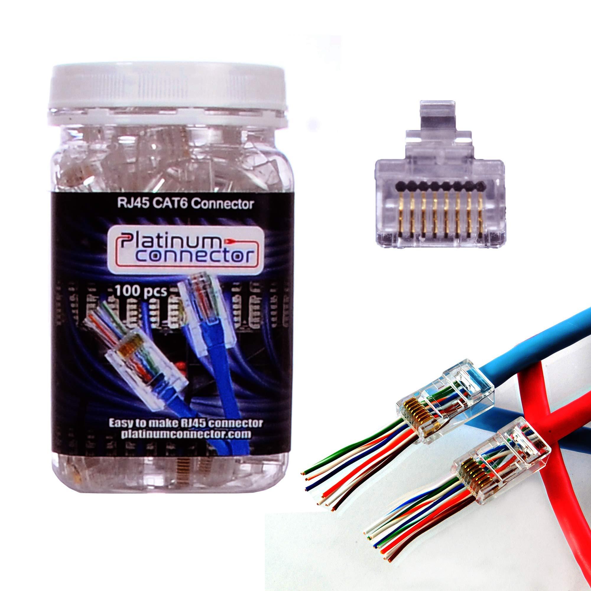Platinum Connector cable connector RJ45 8P8C CAT6 - End pass through Ethernet one-Piece High Performance modular plug (100 Pieces) by Platinum Connector
