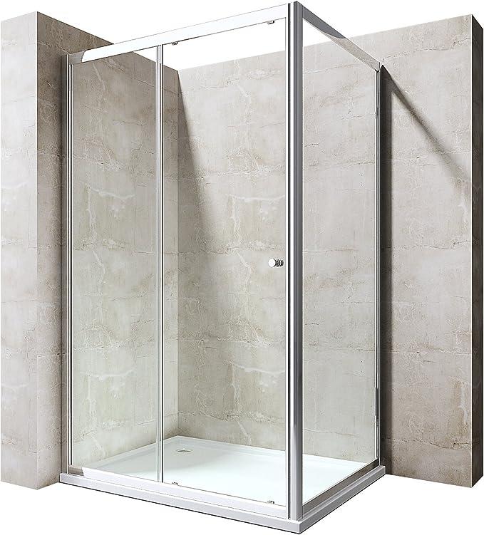 Mai /& Mai cabine de douche en angle 70x80cm avec une porte paroi de douche avec bac /à douche verre transparent de 8mm avec rev/êtement nano easy clean Rav05K