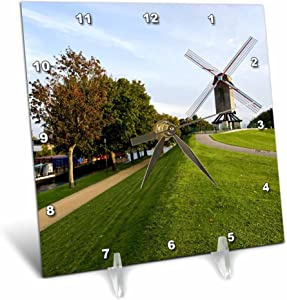 3dRose dc_81072_1 Belgium, Bruges, Windmill and CaNAl Eu04 Wsu0051 WilLIam Sutton Desk Clock, 6 by 6-Inch