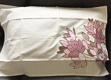 Wish coppia di federe in crema con fiori rosa applique: amazon.it