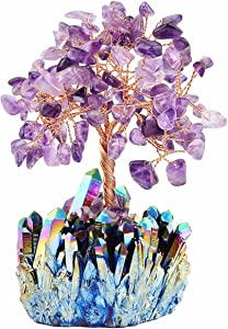 mookaitedecor Amethyst Crystal Tree, Quartz Cluster Rainbow Titanium Crystals Base Bonsai Money Tree for Wealth and Luck