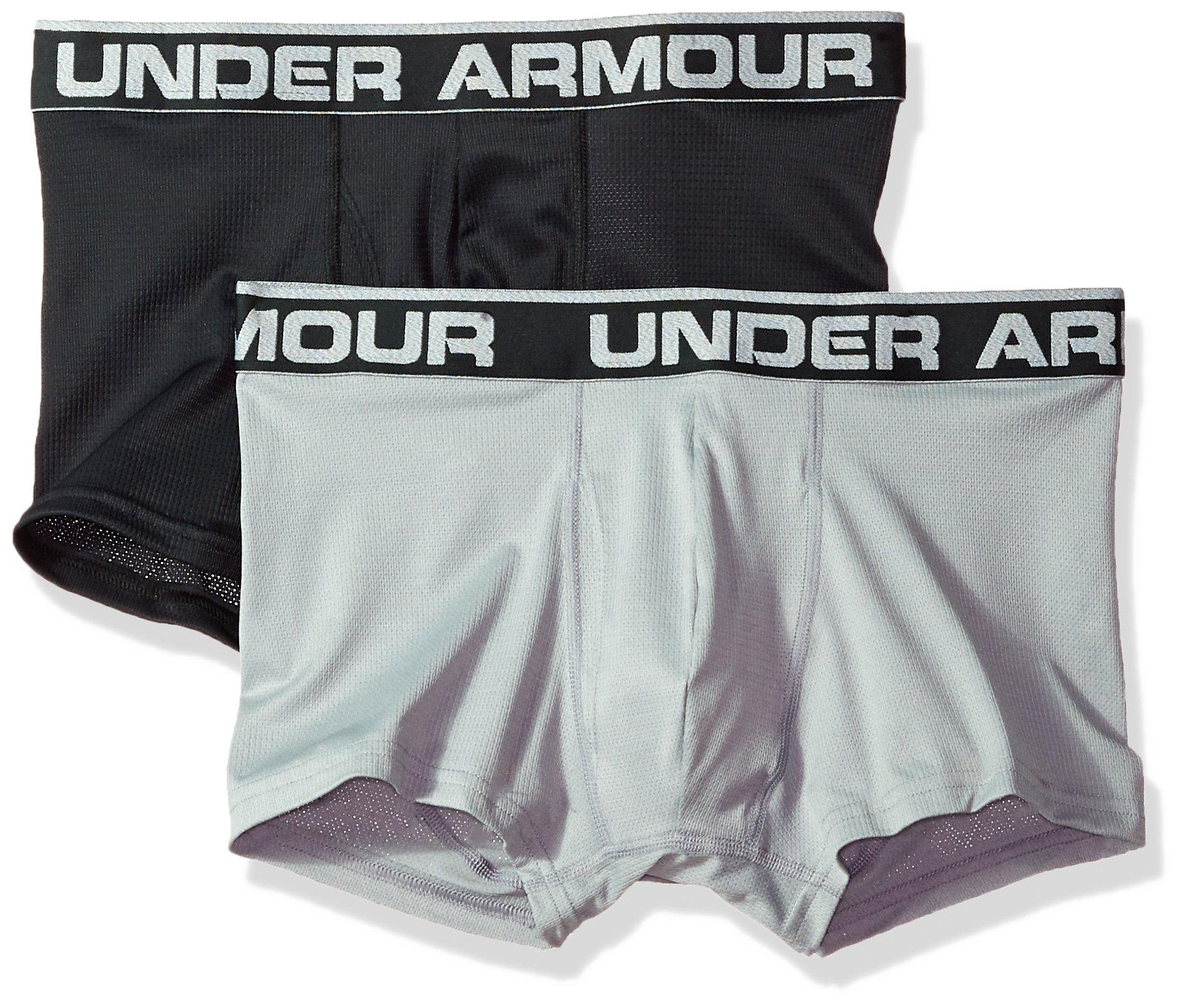 Under Armour Men's Tech Mesh 3'' Boxerjock - 2-Pack, Black (001), XXX-Large by Under Armour