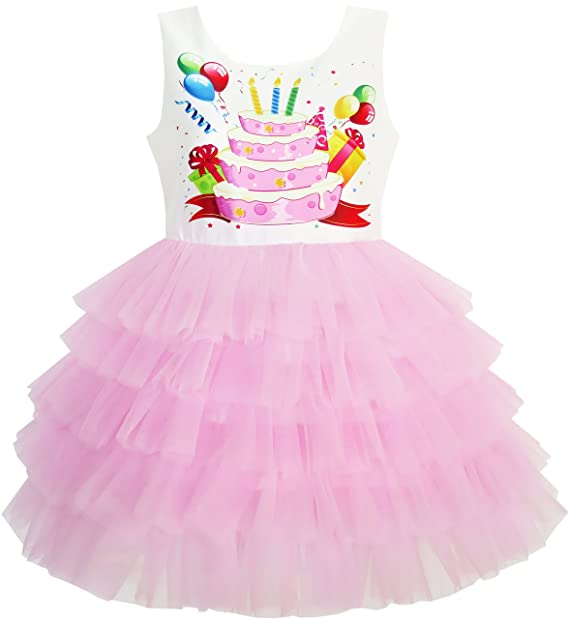 Sunny Fashion JT11 Girls Dress Birthday Princess Ruffle Cake Balloon Print Size 3