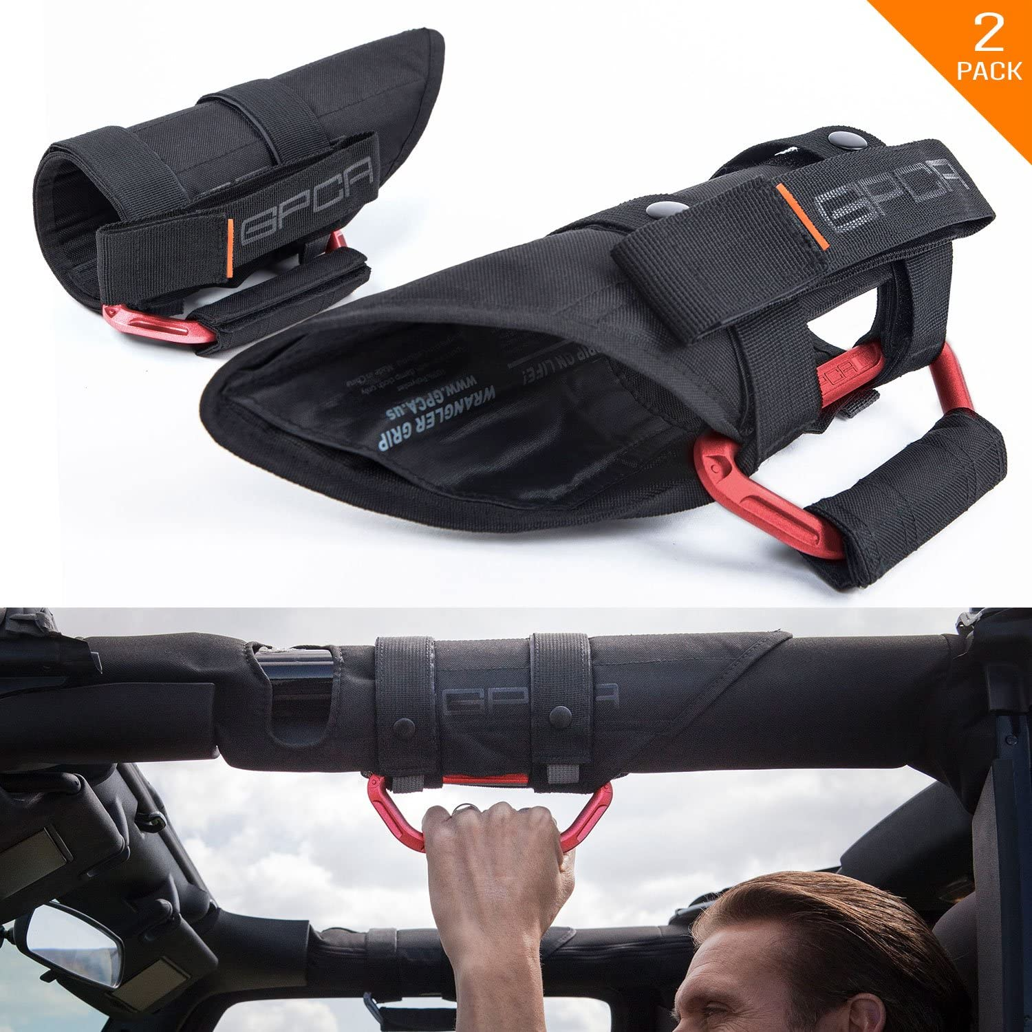 """GPCA GP-Grip PRO Grab Handle for Jeep Wrangler JL JT JK Sport Sahara Rubicon Gladiator 4DR/ 2DR 2007-2020 w/ 3"""" roll bar. Universal to Driver and passenger's Sides (Pair, Firecracker Red)"""