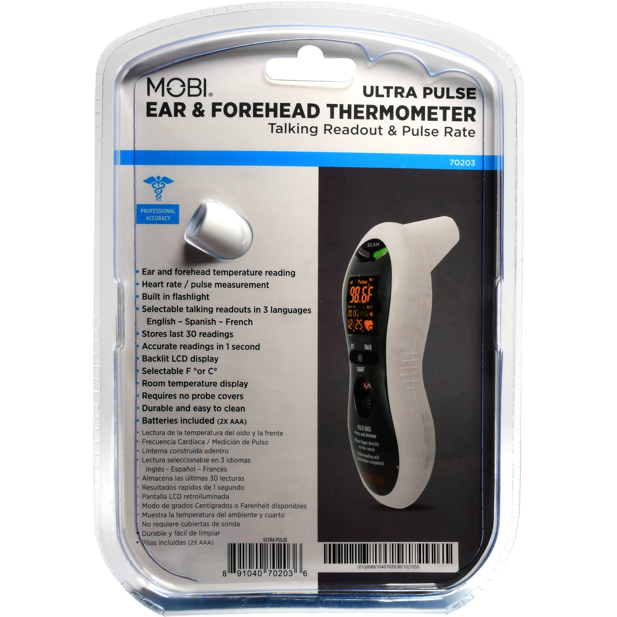 MOBI Ultra Pulse Talking Ear and Forehead Thermometer with Pulse Meter, High Fever Indicators and 3 Languages by Mobi Technologies