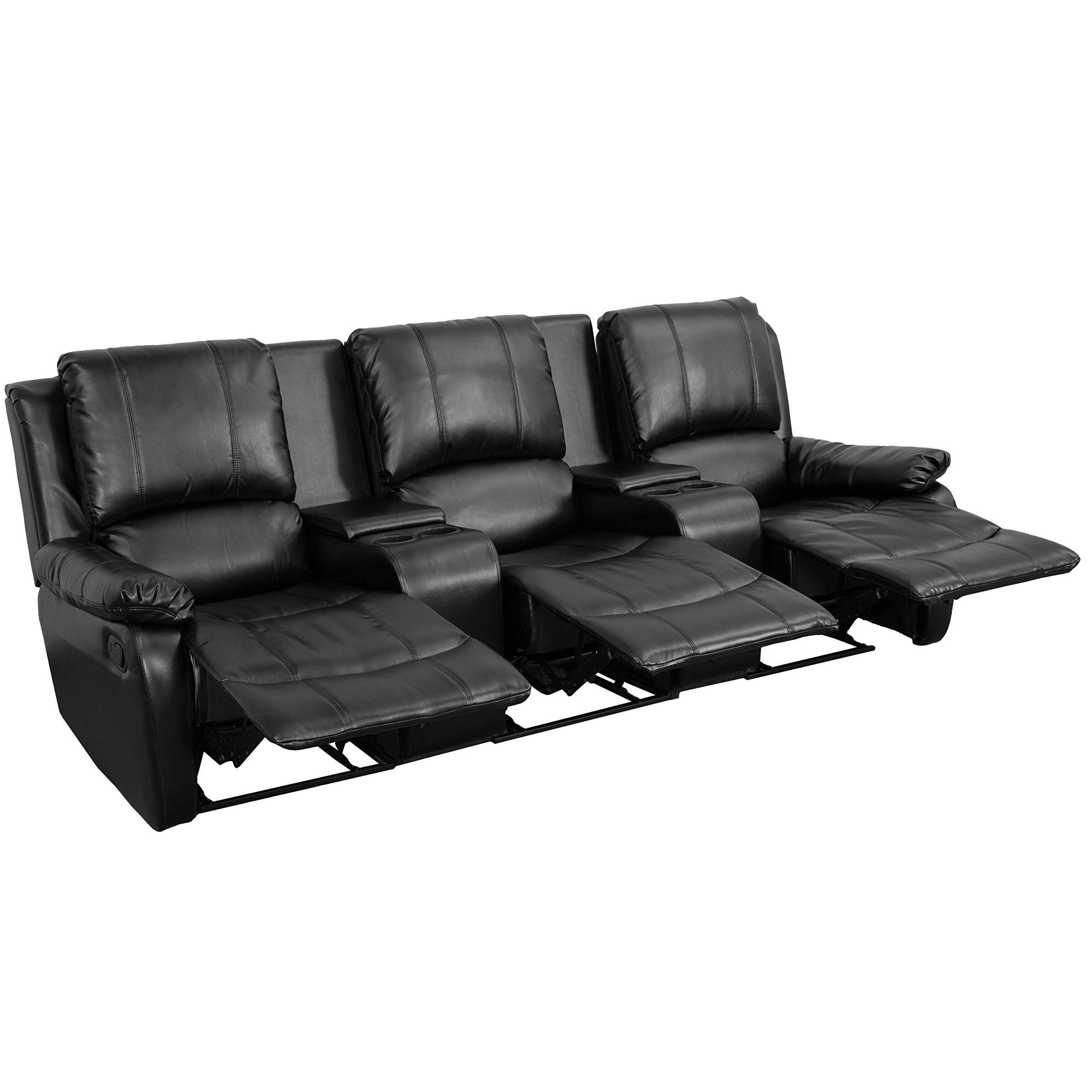 Flash Furniture Allure Series 3-Seat Reclining Pillow Back Black Leather Theater Seating Unit with Cup Holders by Flash Furniture