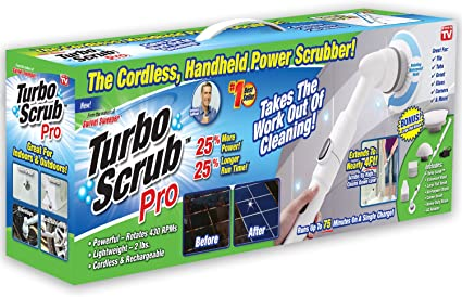 Turbo Scrub Pro 360 Cordless Rechargeable Floor Scrubber And Tile Cleaning Machine 25 More Power 25 More Battery Life