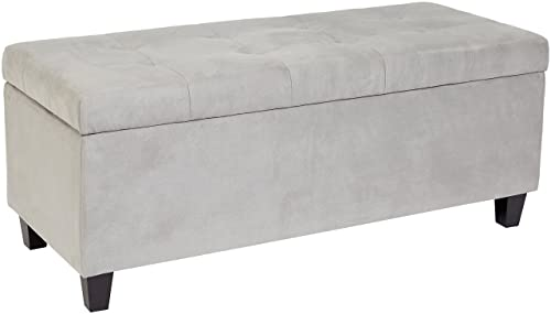 First Hill Nilos Rectangular Shoe-Storage Ottoman with Tufted Microfiber Upholstery – Granite Grey