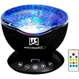 [GENERATION 3]Weirdbeast Remote Control Ocean Wave Project Sleep Night Light Projector with Built-in Ambient Audio Bedroom Living Room Decoration Lamp for Kids/Adult - Black