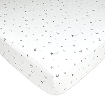 american baby company printed 100 cotton jersey knit fitted crib sheet grey stars and