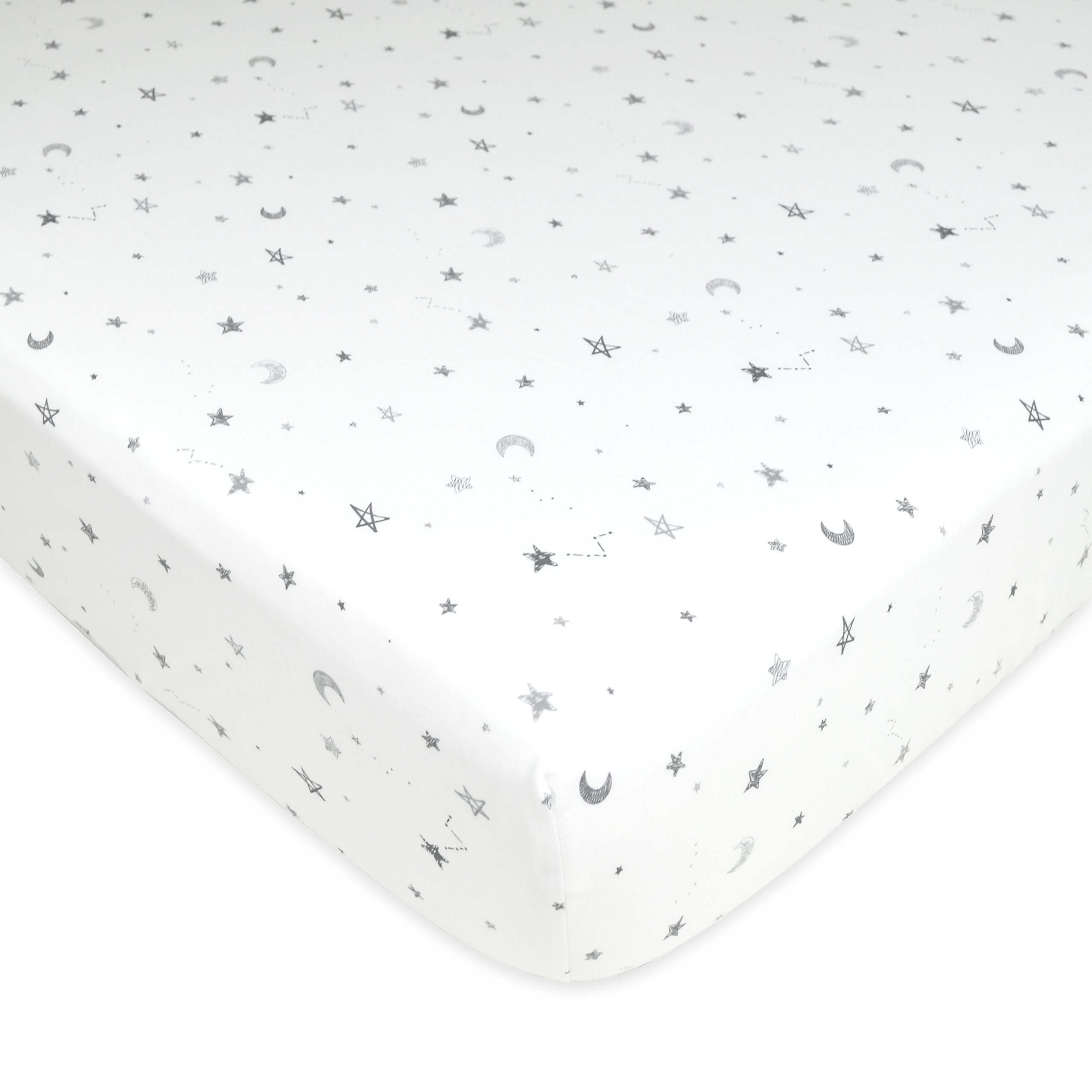 American Baby Company Printed 100% Cotton Jersey Knit Fitted Crib Sheet for Standard Crib and Toddler Mattresses, Grey Stars and Moon
