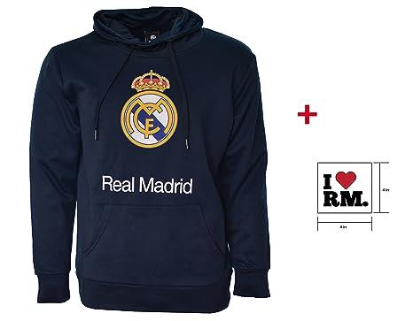 Real Madrid sudadera con capucha chaqueta de forro polar azul marino adultos producto oficial de Nueva