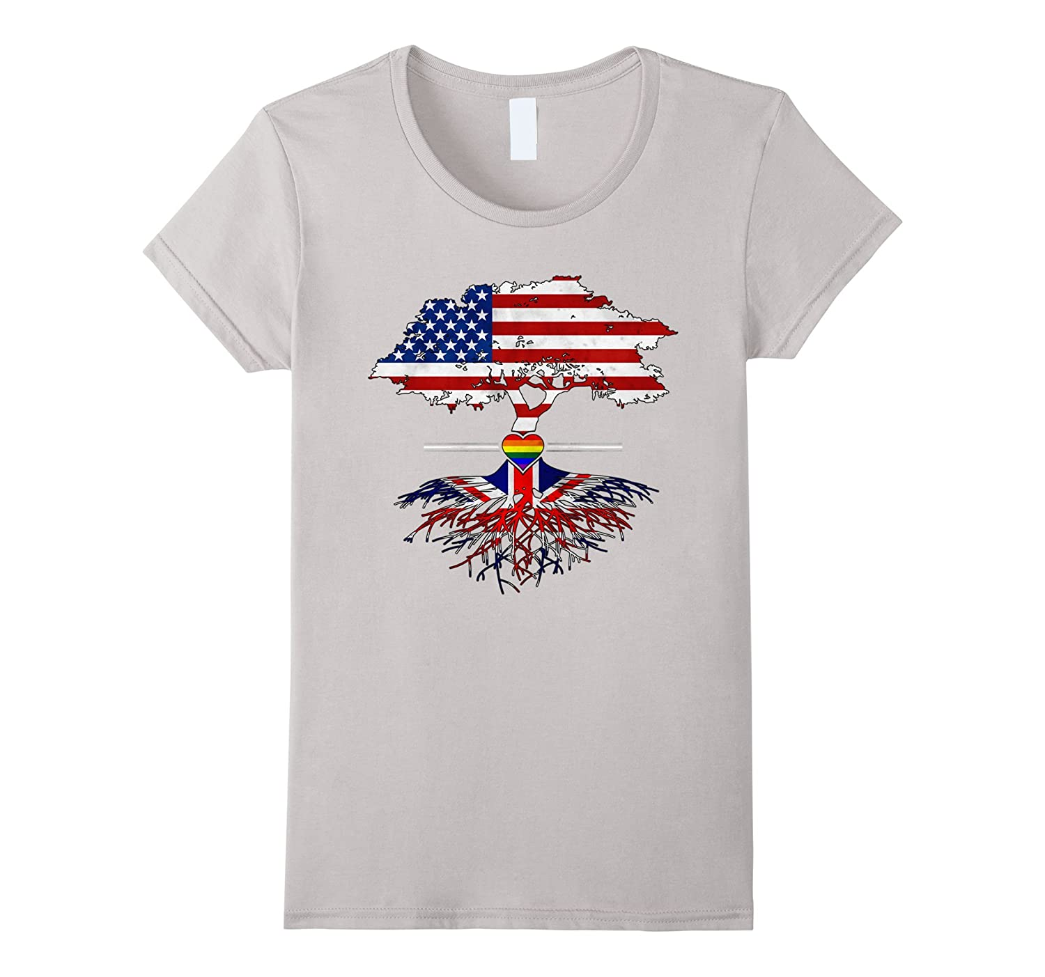 American Grown British Roots Gay Heart LGBT Pride T-Shirt