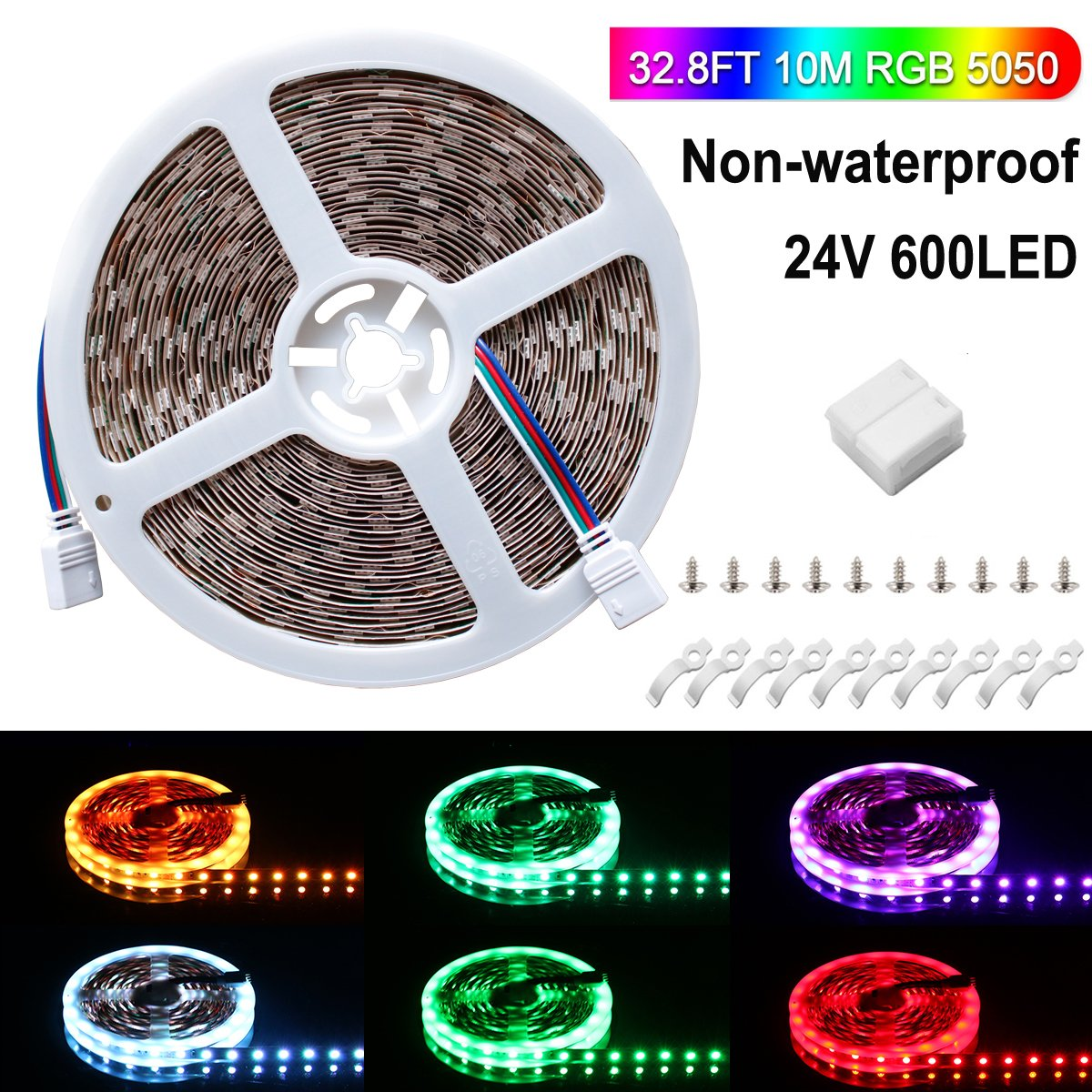 SPARKE LED Strip Light Only, Non-Waterproof 600leds Flexible Color Changing RGB 24V SMD5050 Tape Light, Pack of 32.8ft Strips with Screw Brackets(No Remote and Power Adapter)