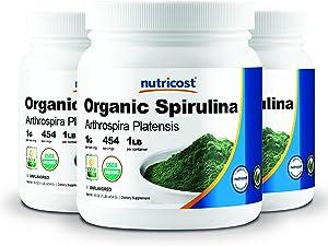Nutricost Organic Spirulina 1LB (3 Bottles) - 3LBS, 1g Per Serving
