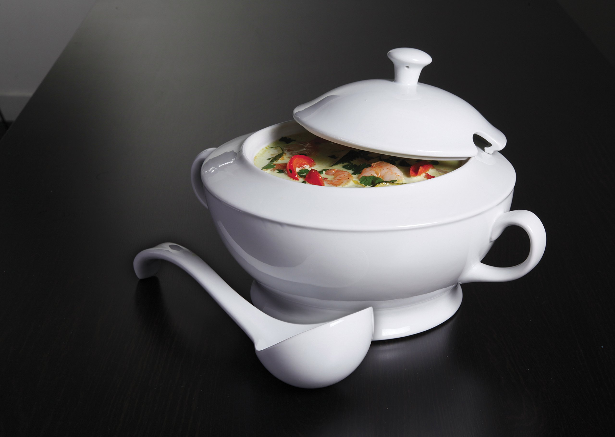 Gibson Elite 101986.03RM Gracious Dining Soup Tureen with Ladle Ware, 12.75'', White