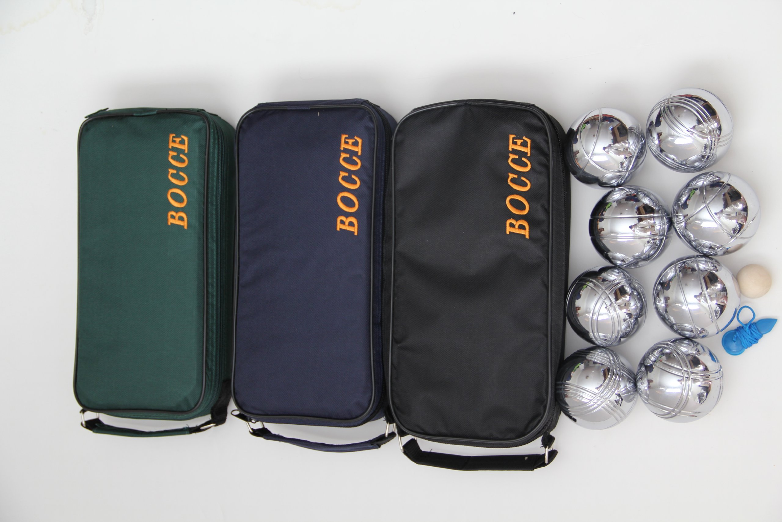 8 Ball 73mm Metal Bocce/Petanque Set with green, blue and black bags - 3 pack by BuyBocceBalls