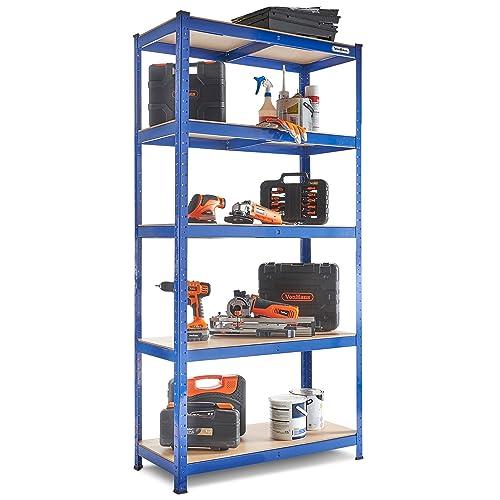 VonHaus 1.8m 5 Tier Garage Shelves Racking Utility Heavy Duty Industrial Steel & MDF Boltless Racking Shelving Unit or Workbench - Massive 875Kg Capacity | 180cm H 90cm W 40cm D | 175kg Per Shelf
