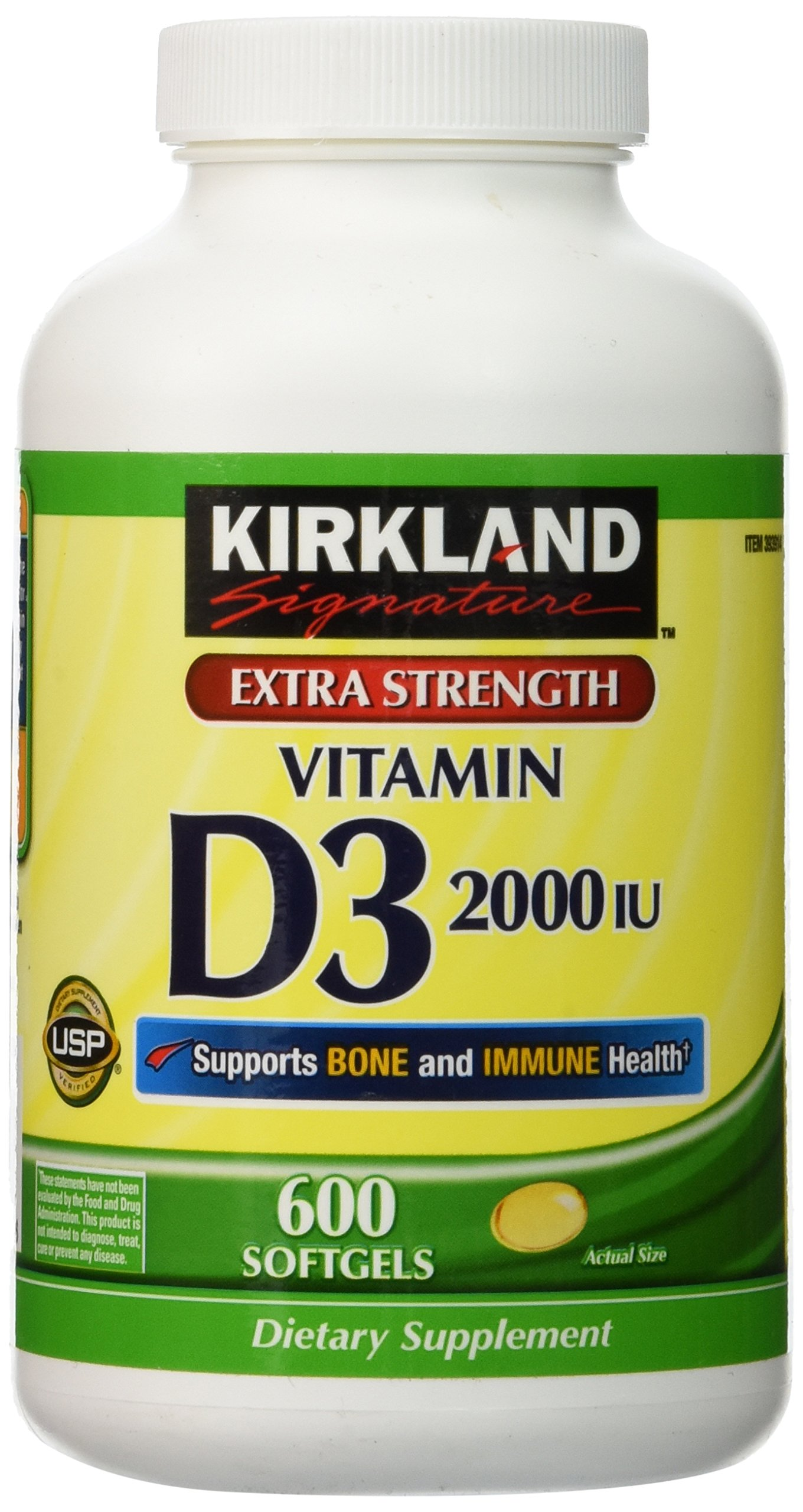 Kirkland Extra Strength Vitamin D-3 2000 IU 600 Soft Gels