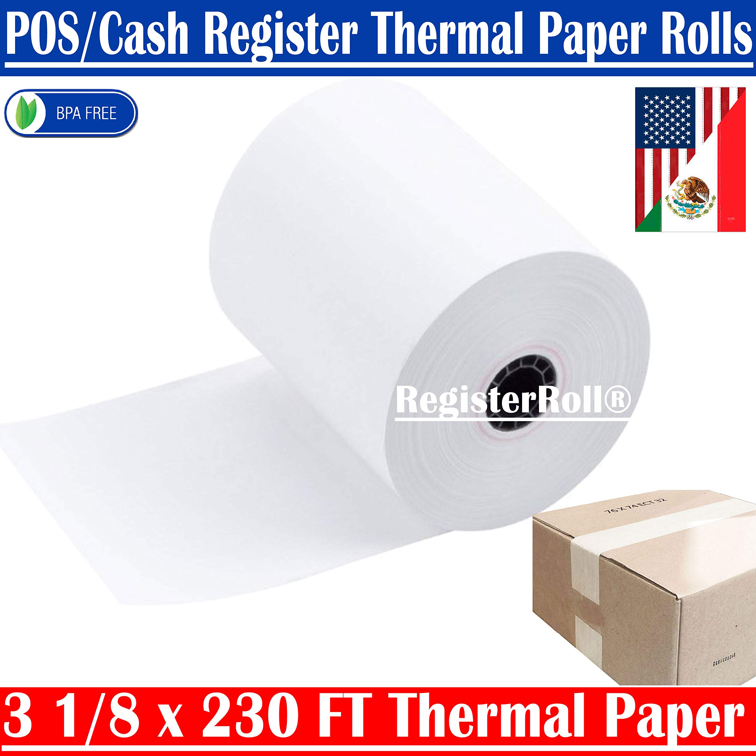 3 1 8 x 230 Thermal Paper roll 50 Pack for Most Receipt Printers, POS Systems, and Cash Registers Square pos Register Thermal Receipt Paper Rolls BPA Free - Trusted Quality from REGISTERROLL by RegisterRoll